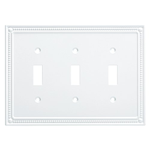 Franklin Brass W35066-PW-C Classic Beaded Triple Switch Wall Plate/Switch Plate/Cover, White ()