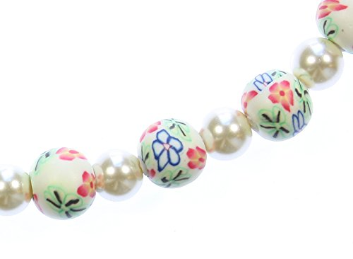 Style-ARThouse Petals and Leaves Millefiori and Glass Pearl Strand Necklace, 24 Inches (Earrings Pink Millefiori Heart)