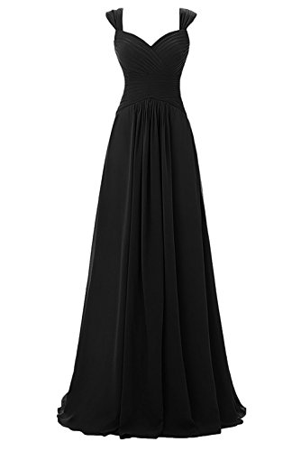 M Bridal Women's Pleated Straps Sweetheart Floor Length Chiffon Bridesmaid Dress Black Size 22