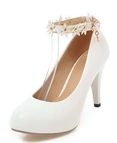 AmoonyFashion Women's Round Closed Toe Solid PU Pumps-Shoes,