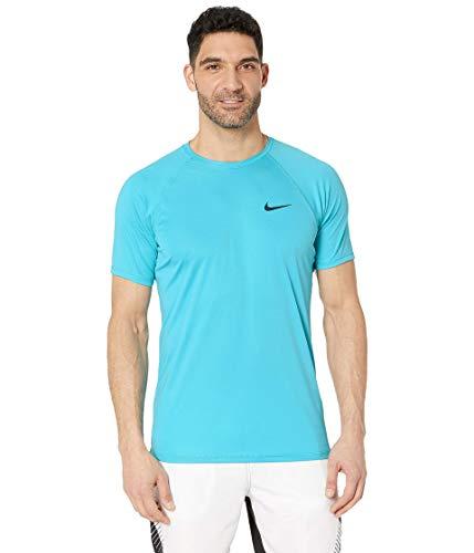 Nike Men's Solid Short Sleeve Hydroguard Light Blue Fury Large (Nike Men Swim Shirt)