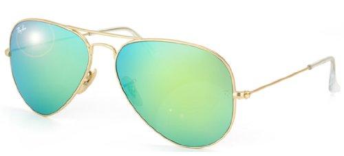 Ray-Ban RB3025 Aviator Sunglasses Matte Gold/Green Mirror (112/19) RB 3025 - Mirror Green Ban Aviator Ray