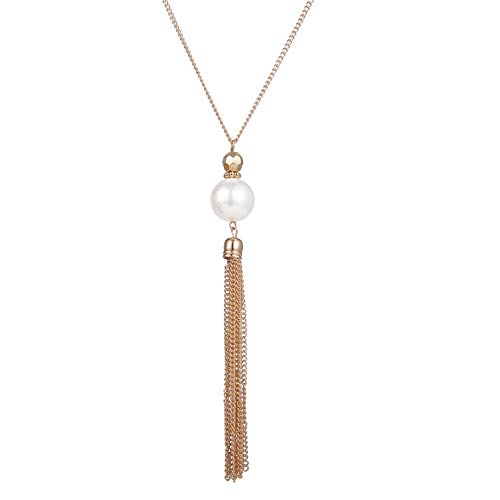 Long Tassel Pendant Necklaces for Women - Faux Pearl Necklace with Silver Chain, Fashion Jewelry for Lady (Gold -