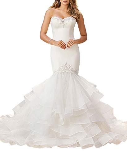 (Wanshaqin Women's Sweetheart Satin Appliqued Ruffles Organza Train Wedding Dresses for Bride Gown Plus Size White)