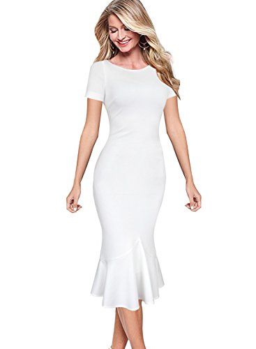VfEmage Womens Elegant Vintage Cocktail Party Mermaid Midi Mid-Calf Dress 7977 WHT S