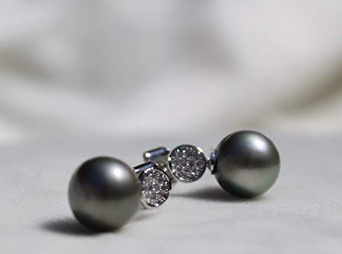 Sterling silver Tahitian pearl earrings with beautiful lab diamonds round - Tahitian Pave Ring