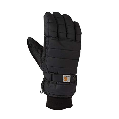 Carhartt Women's Quilts Insulated Breathable Glove with Waterproof Wicking Insert, Black, Medium (Winter Gloves Cold)