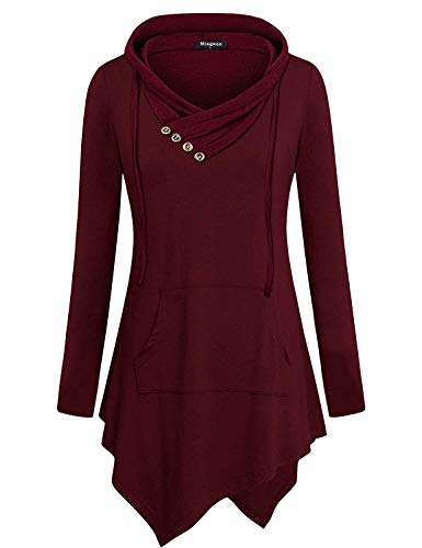 Miagooo Women's Tops, Hooded Sweatshirt Drawstring Button Front Hoodies Turtleneck Business Office Formal Blouse Professional Sofy Comfy T-Shirts Irregular Hem Tops Fashion 2019 New Wine XXXL