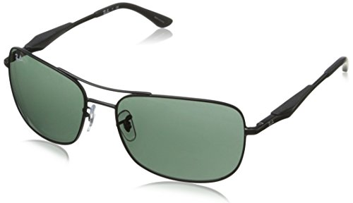 Ray-Ban Men's RB3515 Square Metal Sunglasses, Matte Black/Green, 61 ()