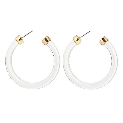 LEGITTA Leia Resin Hoop Earrings Transparent White Acrylic Round Circle Dangle Ear Drops Fashion Statement Jewelry for Women Girls L118TW