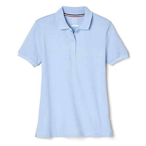 French Toast Big Girls' Short Sleeve Stretch Pique Polo, Light Blue, X-Large/14/16
