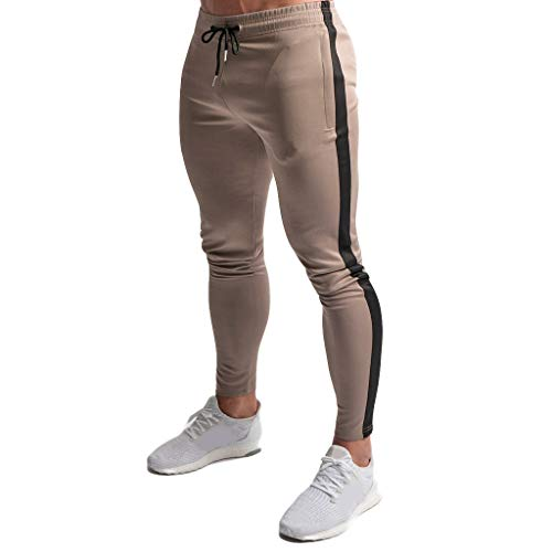 iYBUIA Men's New Leisure Tight Printed Trousers Fashion Comfortable Sports Pants Khaki -