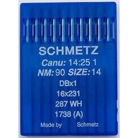 La Canilla ® - 10 Agujas para Máquina de Coser Industrial Schmetz DBx1 1738(A) 16x231 Grosor 90/14 Pistón Redondo: Amazon.es: Hogar