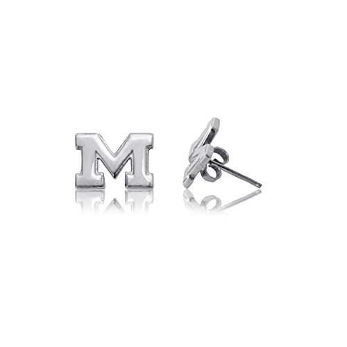 (University of Michigan Wolverines Sterling Silver Jewelry by Dayna Designs (Stud)