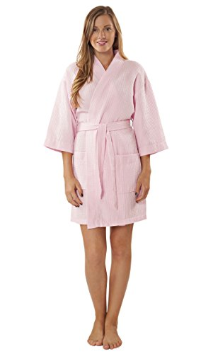Turquaz Linen Lightweight Thigh Length Waffle Kimono Bridesmaids Spa Robe