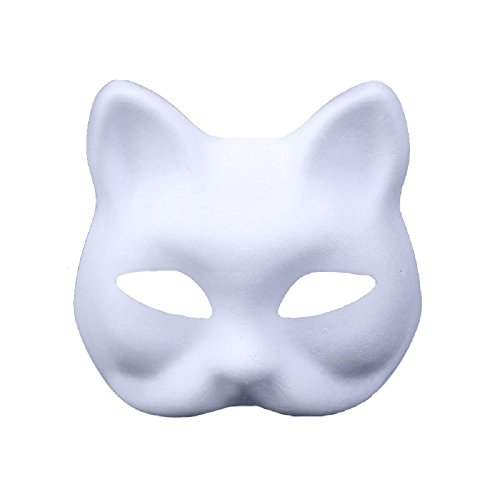 Himine 9 PCS DIY White Paper Mask Blank Hand Painted Mask (Cat)