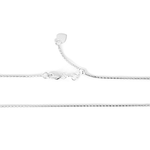 Beauniq Solid 14k White Gold 1 Millimeters Adjustable Popcorn Chain Necklace, up to 22 Inches