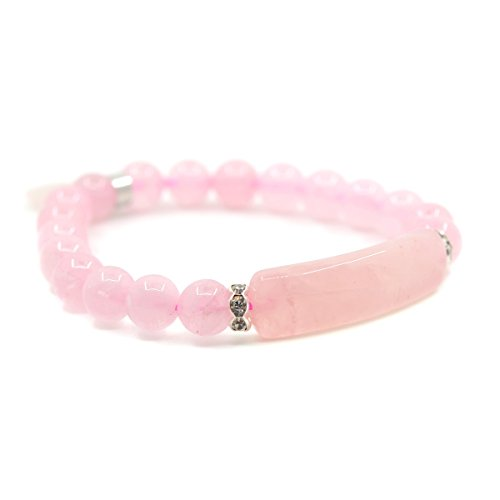 Natural Rose Quartz Gem Semi Precious Gemstone Love Heart Charm Stretch Bracelet