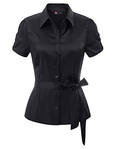 (KANCY KOLE Women's Tops Short Sleeve Blouses Satin Basic Simple Button Down Shirt for Dress (Black,L))