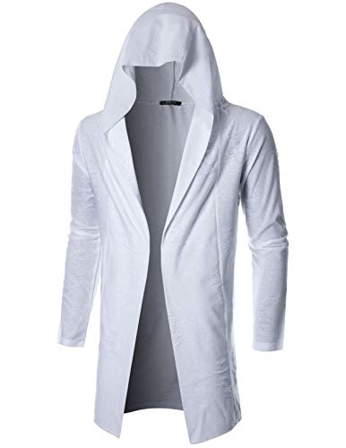 - GIVON Mens Long Sleeve Draped Lightweight Open Front Longline Hooded Cardigan/DCC155-WHITE-S