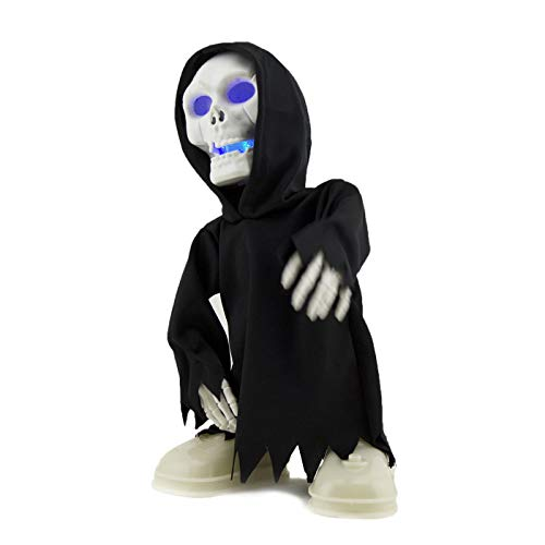 Adorox Walking Talking Light Up Grim Reaper Dancing Skeleton Halloween Decoration Eyes