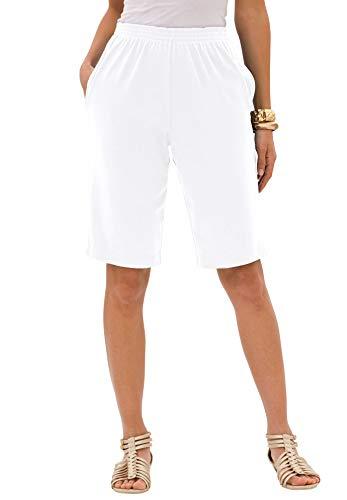 Roamans Women's Plus Size Soft Knit Bermuda Shorts - White, L