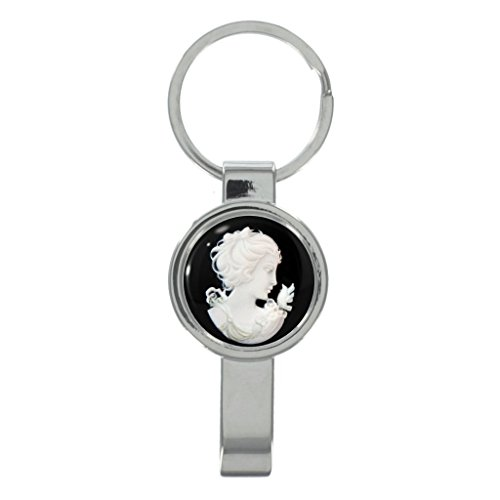 Edwardian Cameo - Lady Portrait Cameo Design Cap Remover Keyring with Free Gift Box