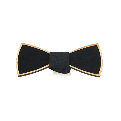 BanWood Men's Pure Black Wood Bowtie With Log Wood Color Border