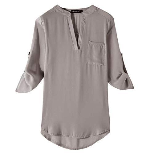 Chemisier Femme Chic Casual Manches Longues Col V  Zipp Mousseline Tops Blouse Mode Sweat Sweatshirt Veste Chemise T-Shirt Hauts Fluide Tunique Manteau Bleu Rouge Noir Gris