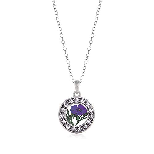 Inspired Silver - Violet Flower Charm Necklace for Women - Silver Circle Charm 18 Inch Necklace with Cubic Zirconia -