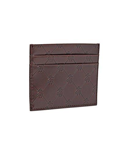 Brooks Brothers Mens Embossed Golden Fleece Genuine Leather Credit Card Wallet (Brown)
