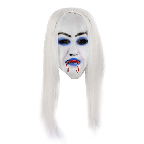 Creaon Halloween Makeup Dress Mask Creative White Hair Bleeding Pattern Masquerade Mask for Halloween Party Cosplay -