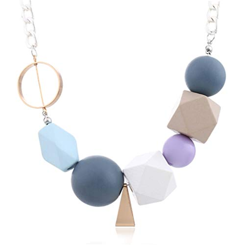 (DARLING HER Colorful Wooden Beads Statement Necklace Women's Multicolor Wood Beaded Necklaces & Pendants Arrival Fashion Jewelry)