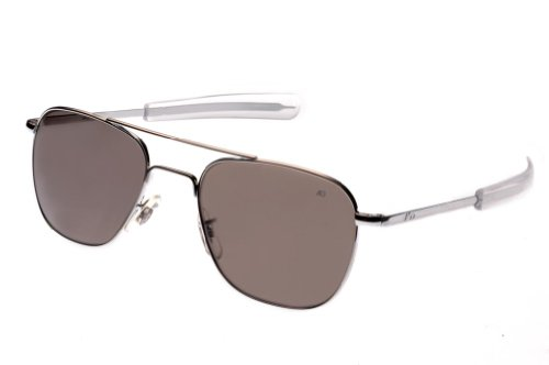 AO Eyewear American Optical - Original Pilot Aviator Sunglasses with Bayonet Temple and Silver Frame, True Color Grey Glass Polarized ()