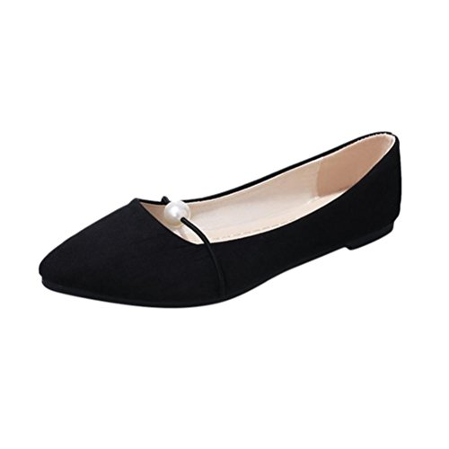 Fheaven Loafers For Women, Womens Slip On Loafers Solid Color Suede Flat Pearl Strap Flat Casual Pointed Shoes Black