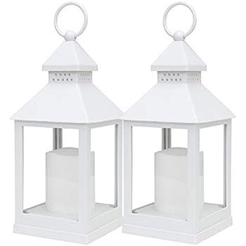 kieragrace KG Aglow Flickering LED Lantern - White, Set of 2, 9.25-Inch Tall