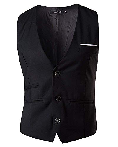 V Single Breasted Fit Trois Gentleman Slim Pour Casual Targogo Hommes Waistcoat À Retro Gilet Col Schwarz Neck xwnAYgTIq