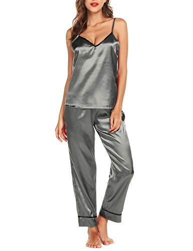 Pajamas Sleepwear Set Cami Pj Set Soft Nightwear Lingerie Grey ()