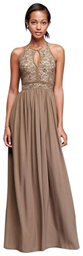 David's Bridal Lace Keyhole Tie Back Halter Dress Style 12089, Taupe, 12