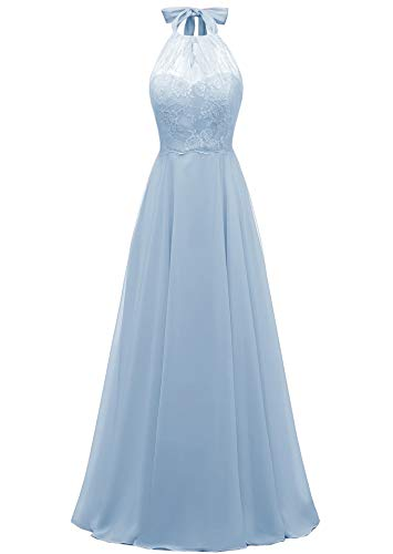 Women's Halter Lace Prom Dress Open Back Floor Length Chiffon Formal Evening Gown Sky Blue,8