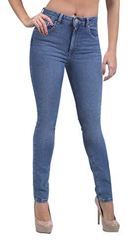 SUG Women's Skinny Stretch Jeans Ripped High Waisted Mid Rise Butt Lift Modern Denim Pants (Indigo Wash 1405, 12)