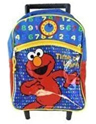 Sesame Street Elmo Rolling Backpack - Elmo Kid Size Wheeled Backpack (Time To Learn)