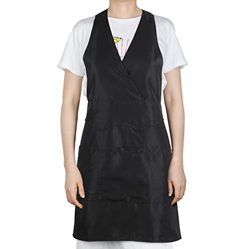 Segbeauty Hairdresser Smock, Sleeveless Stylist Vest Black with 3 Pockets, Professional Salon Work Apron Bistro Restaurant Waitress Work Uniform for Women Hair Stylists Pet Groomers Barbers