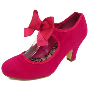 Womens Fuchsia Pink Suede Effect Bow Dorothy Low Heel Court Shoes   Amazon.co.uk  Shoes   Bags 9c24c564a