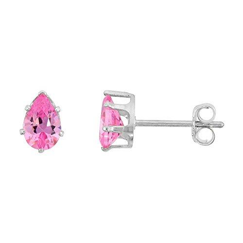 Sterling Silver Cubic Zirconia Teardrop Pink Earrings Studs Pink Zircon 1.5 carat/pair -