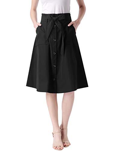 - Vintage Cotton Black A Line Button Skirt with Elastic Waist for Petite Women M