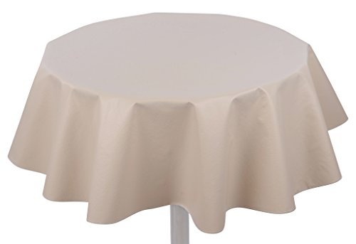 "Yourtablecloth Heavy Duty Flannel Backed Round Vinyl Tablecloth – 6 Gauge Thickness, Water Resistant & Easy to Clean 60"" Sand ()"
