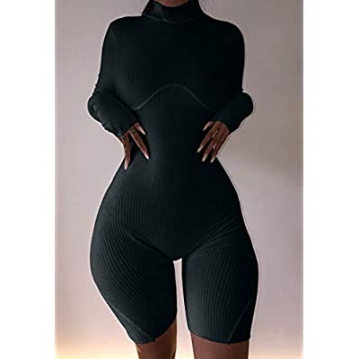 XLLAIS Women Sexy High Neck Long Sleeve Bodycon Shorts Jumpsuit Rib Outfits: Clothing