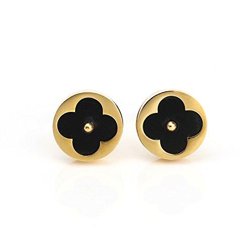 Petite Gold Tone Post Earrings with Contemporary Cut Out Clover Design and Faux Onyx Inlay (160051)