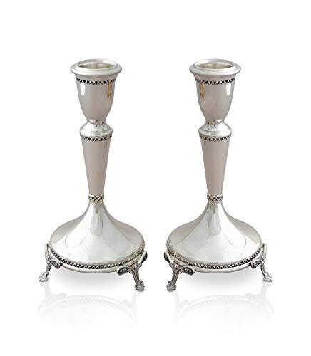 (Sterling Silver Elegant looking Shabbat Candlesticks made of handmade delicate filigree Jewish Wedding gift, Nadav)